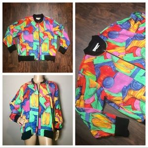Vintage Colorful Abstract bling bomber jacket